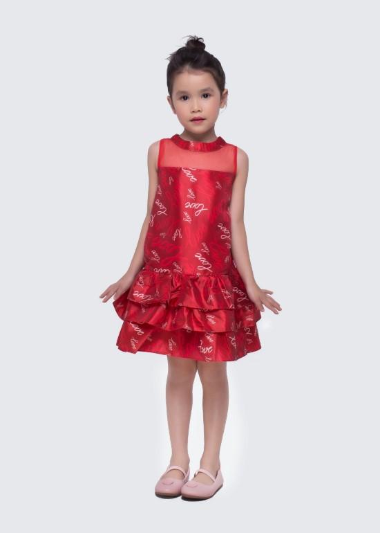 Đầm tầng lưới ngực đỏ bé gái