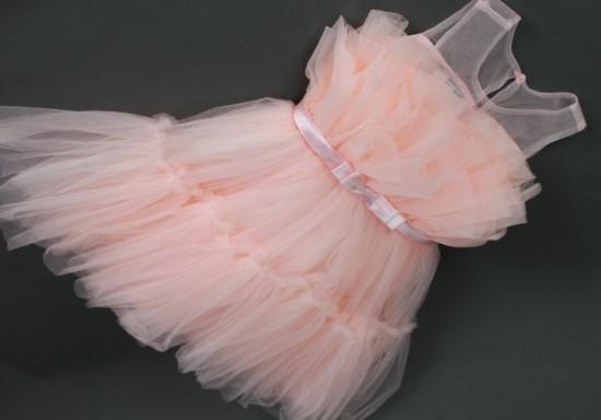 Đầm công chúa xếp ly ngực màu hồng - MS195