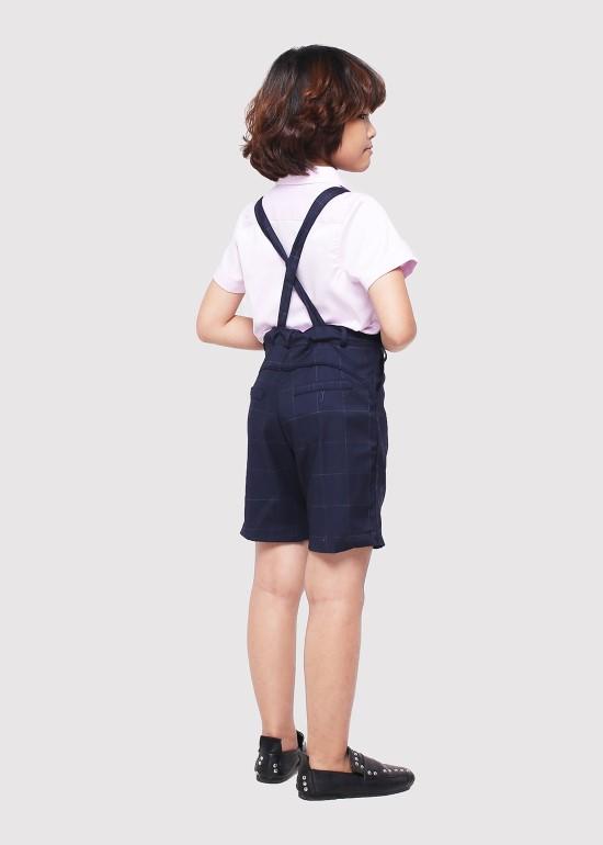 Quần yếm ngắn viền lưng caro xanh trắng bé trai