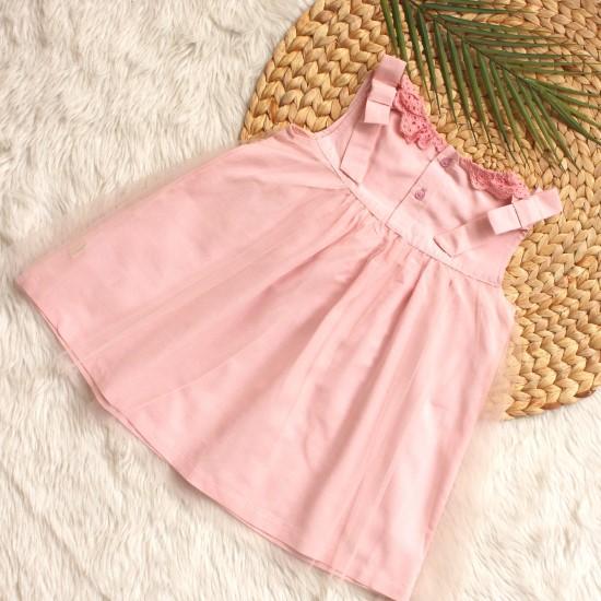 Đầm vải hồng nhạt vingo 20G21