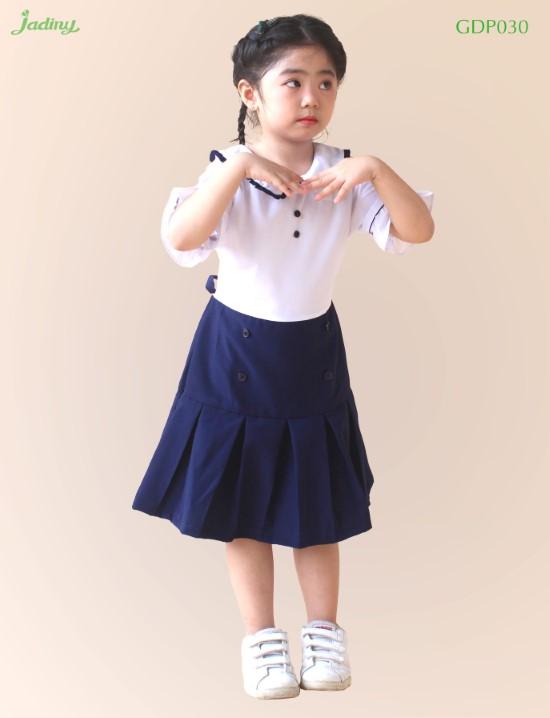 Đầm học sinh bé gái cổ sen nhún bèo GDP030