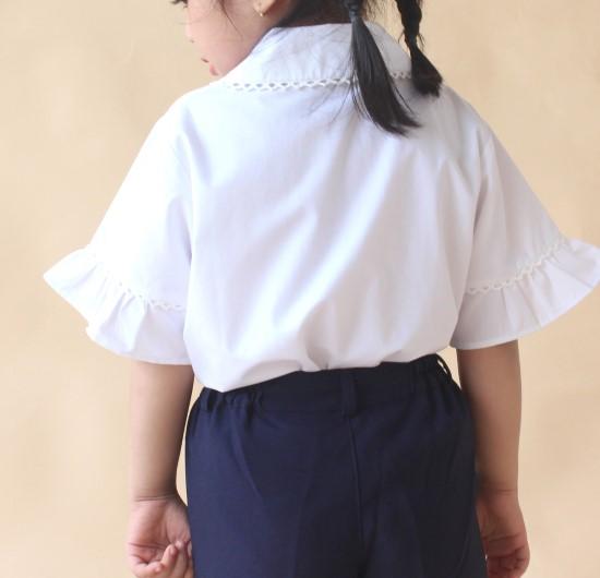 Áo sơ mi học sinh nữ cổ sen phối ren tay xòe