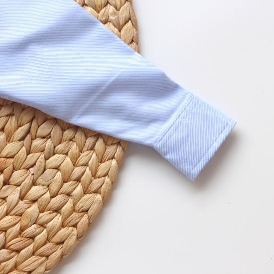 Áo sơmi tay dài bé trai xanh biển sọc
