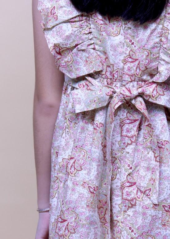 Đầm bèo ngực cột dây hoa nâu