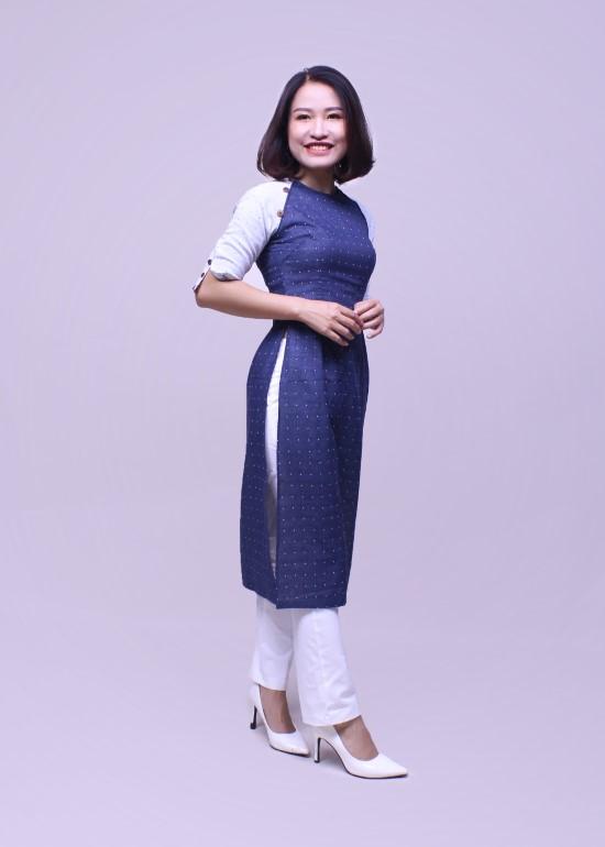 Áo dài nữ linen phối xanh đen