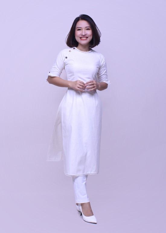 Áo dài nữ linen phối trắng