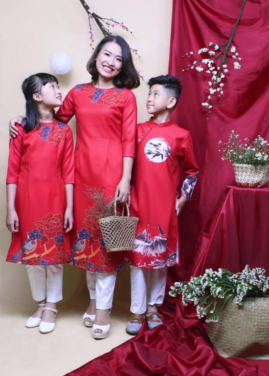 Combo áo dài phước lộc đỏ gia đình