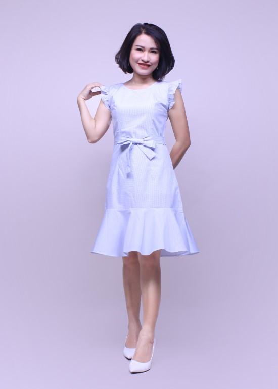 Đầm nữ chân bèo cotton xanh