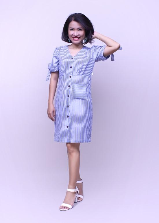 Đầm nữ tay cột nơ sọc xanh biển