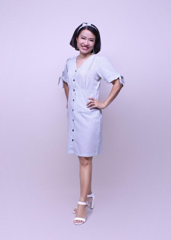Đầm nữ tay cột nơ sọc xanh ngọc