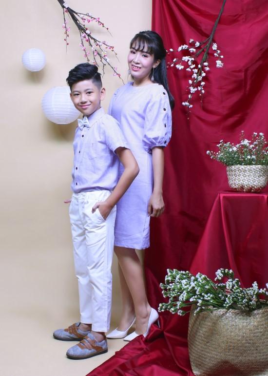 Combo đầm và áo sơ mi linen tím mẹ và bé trai
