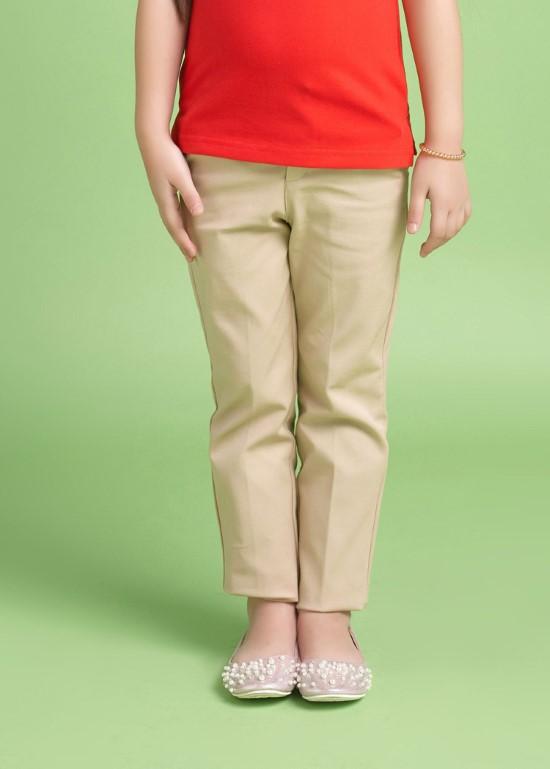Quần kaki dài bé gái kem