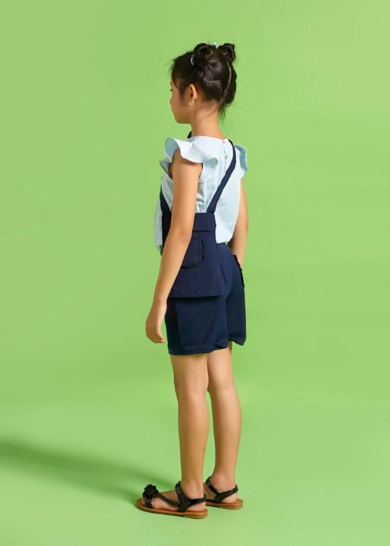 Quần yếm ngắn bé gái đa năng xanh đen