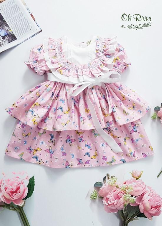 Váy bèo hồng cam pastel S874