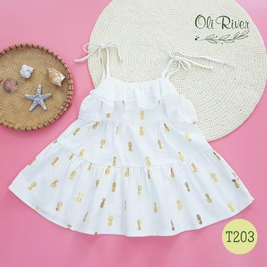 Đầm trắng họa tiết dứa vàng  oli river T203