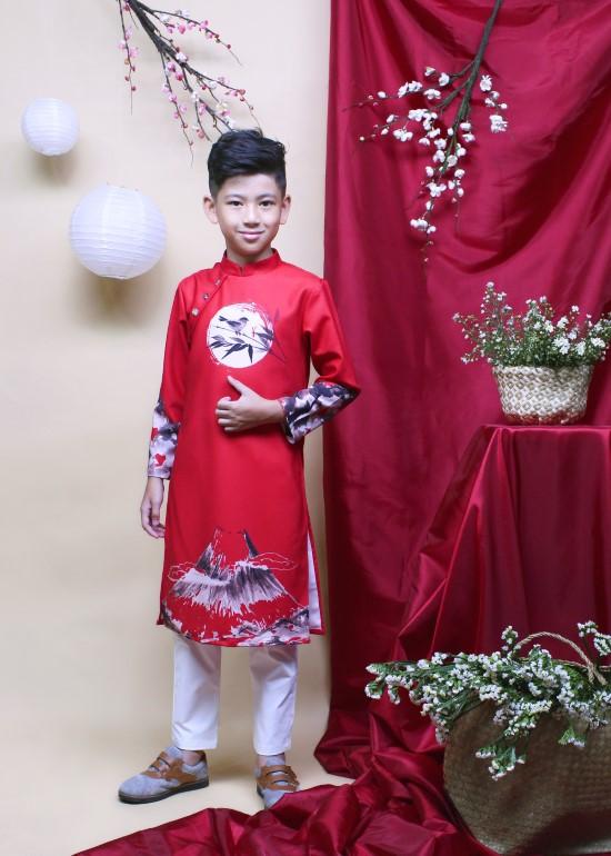 Áo dài phước lộc đỏ bé trai