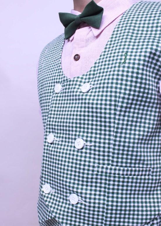 Áo gile bé trai hai hàng nút caro xanh