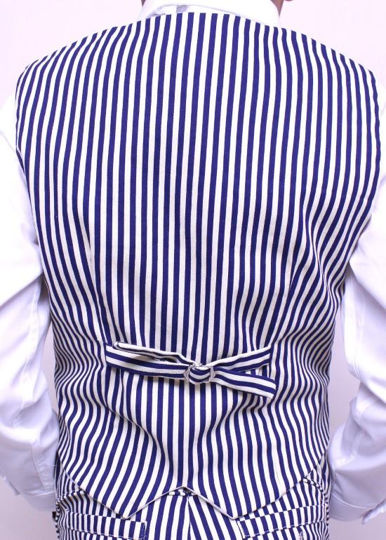 Áo gile bé trai hai hàng nút sọc xanh