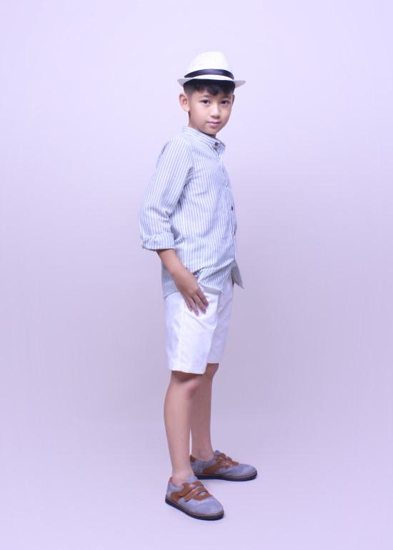 Set thời trang bé trai áo sơ mi quần yếm kaki