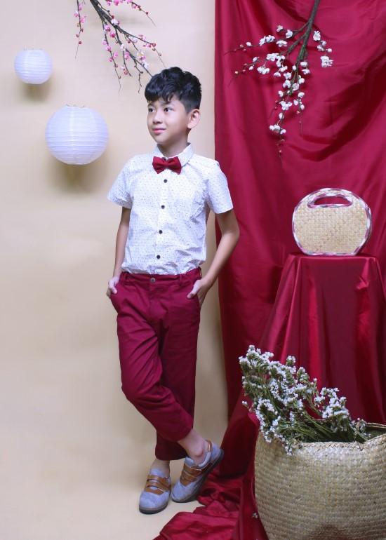 Quần dài tiệc bé trai kaki thun đỏ
