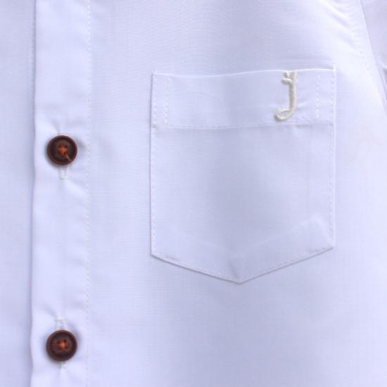 Áo sơ mi tay ngắn bé trai cotton màu trắng
