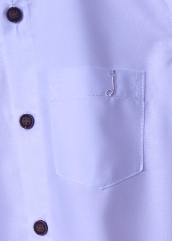 Áo sơmi tay dài bé trai cotton màu trắng