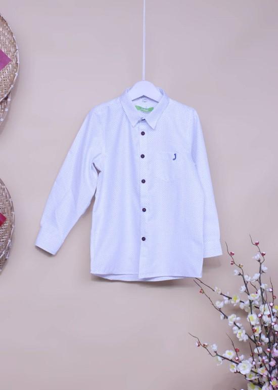 Áo sơmi tay dài bé trai trắng chấm bi xanh
