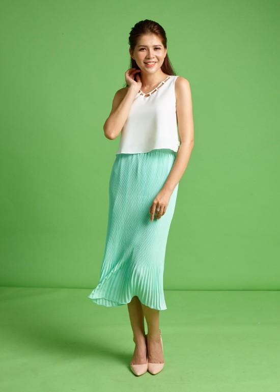 Chân váy dập li tằm xanh ngọc