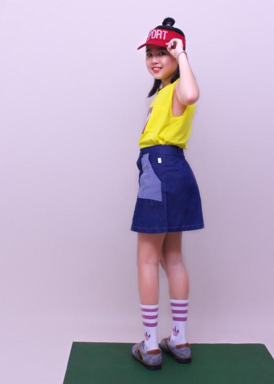 Váy bé gái denim xanh đậm