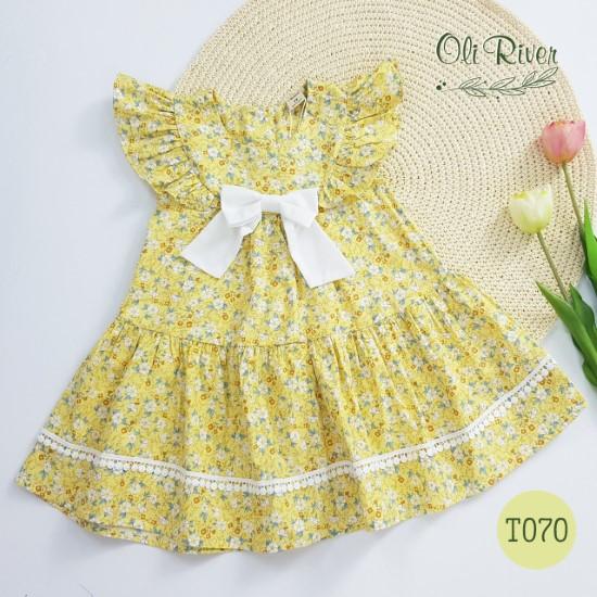 Đầm hoa nhí vàng tây oli river T070-2