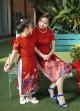 Áo dài giai điệu thiên nhiên đỏ bé gái