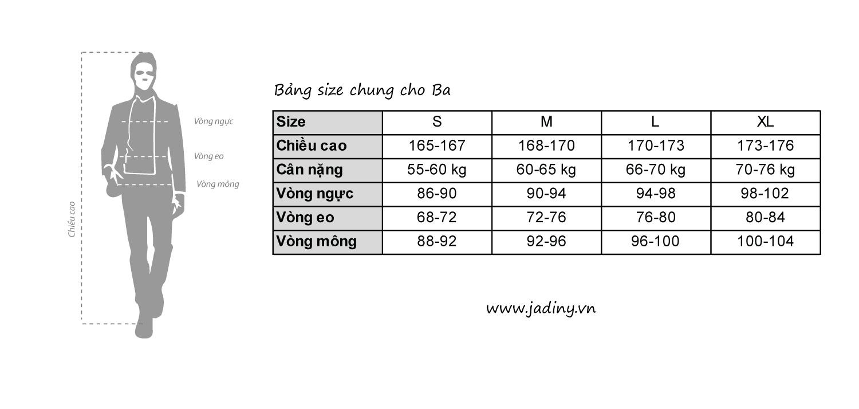 Bảng thông số chọn size thời trang nam