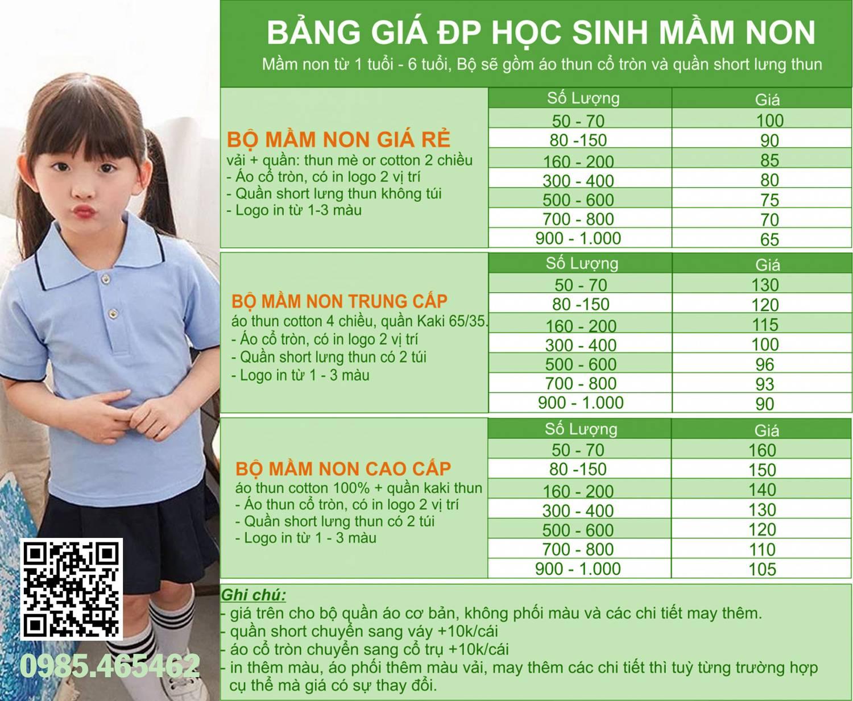 Bảng giá may đồng phục học sinh mầm non